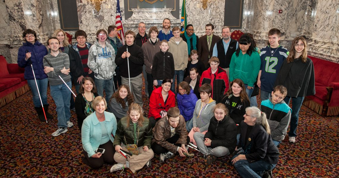 Cleveland meets with students from the Washington State School for the Blind