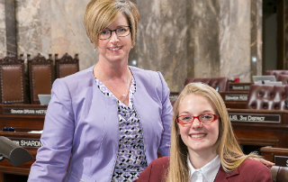 Allison Bignall serves as page in the state Senate