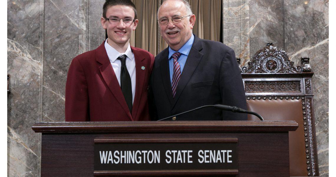 Jack Sanders serves as page in state Senate