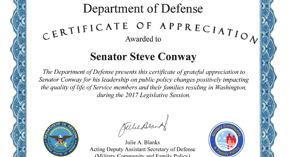 Defense Department honors Conway for supporting military families