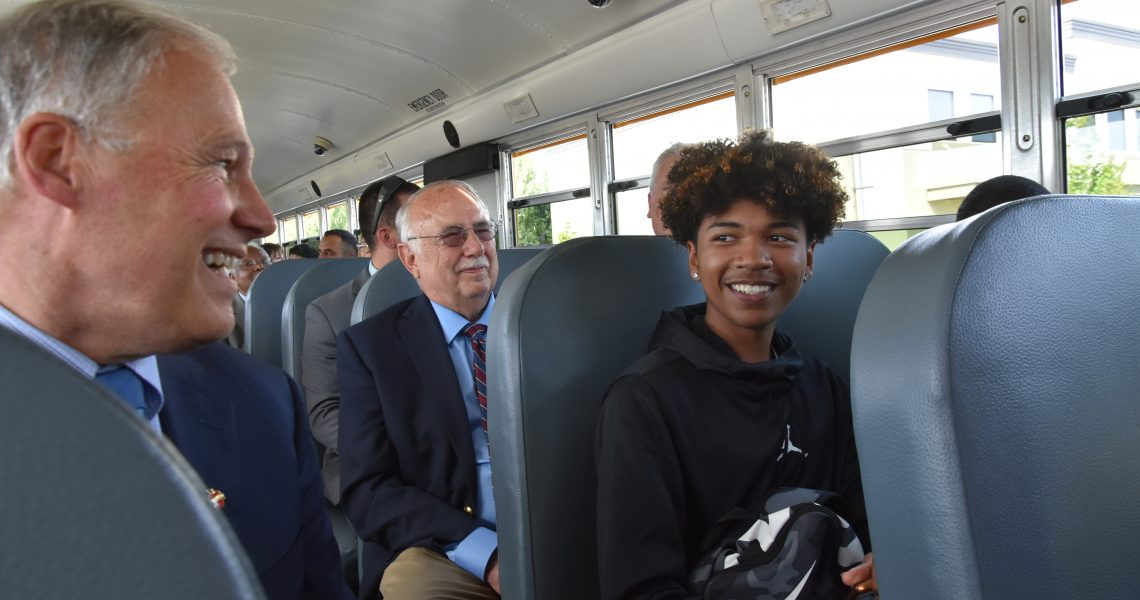 Franklin Pierce School District unveils state's first electric school bus