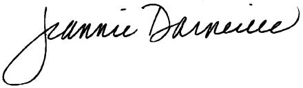 Jeannie Darneille written in cursive (signature).
