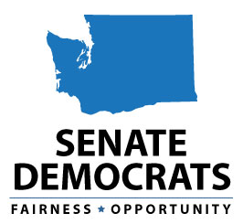 "Logo with the shape of Washington state, with text: ""SENATE DEMOCRATS, Fairness - Opportunity."""
