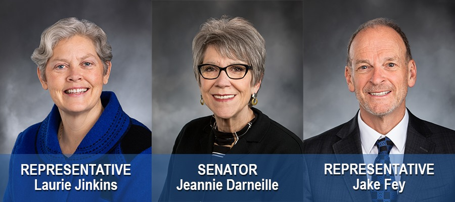 Graphic showing headshots with names of Rep. Laurie Jinkins, Sen. Jeannie Darneille, and Rep. Jake Fey