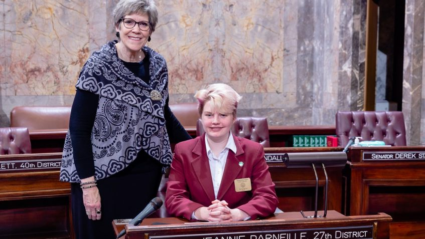 Sen. Darneille with Page Dana Hicks, March 3, 2020.