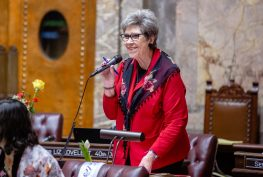 Sen. Jeannie Darneille speaks on the Senate floor.
