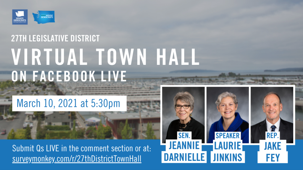 Graphic announcing 27th legislative districtvirtual town hall on Facebook Live, March 10 at 5:30pm