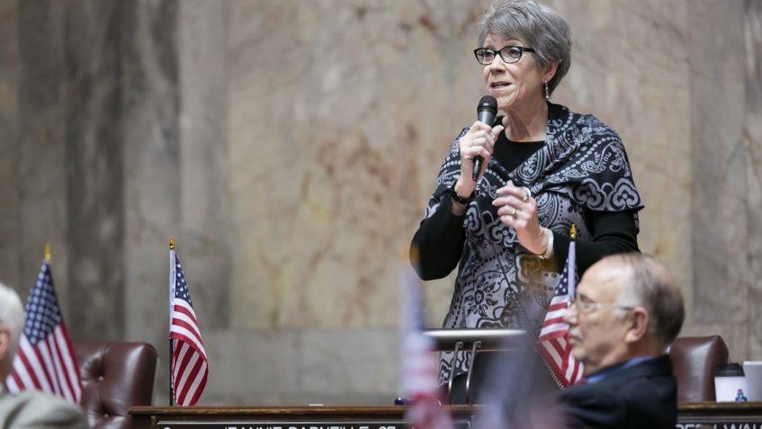 Photo of Sen. Darneille speaking on the Senate floor.