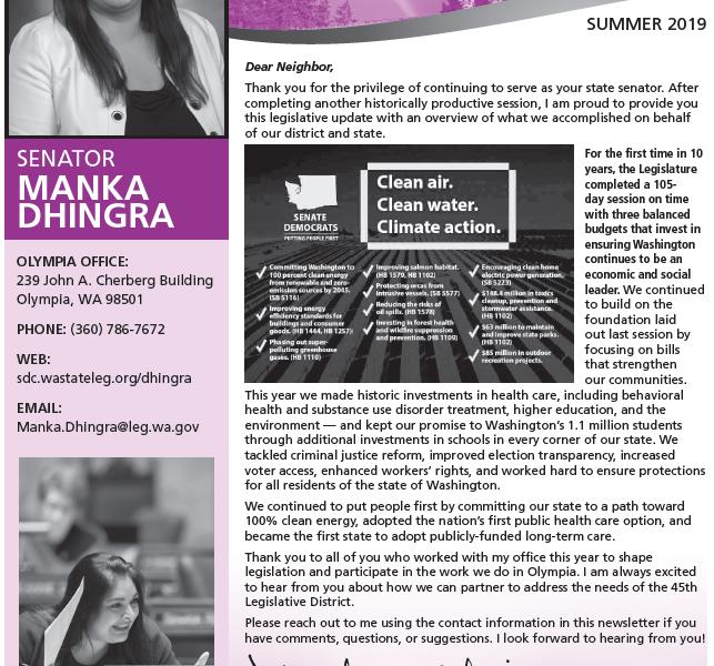 Sen. Dhingra's Session Report Card