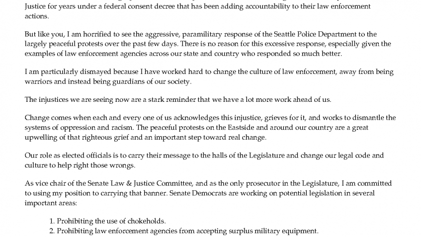 Sen. Dhingra's letter to constituents on police reform