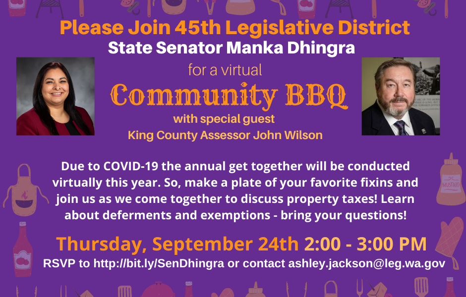 E-news: Join me for a virtual BBQ with King Co Assessor John Wilson