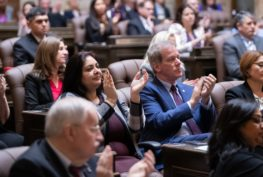 Sen. Dhingra and Rep. Goodman at the State of the State, January 15, 2019.