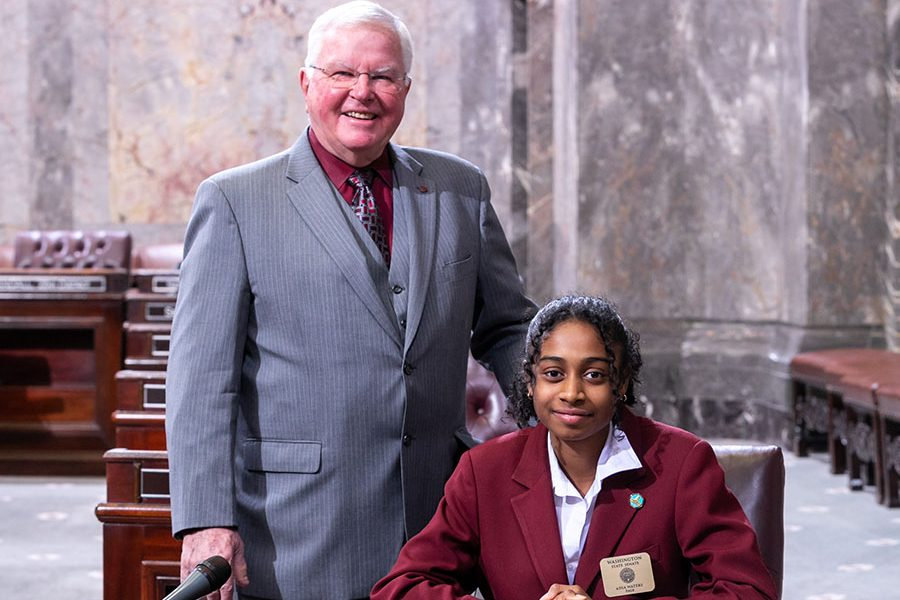 Adia Waters serves as page in Washington State Senate
