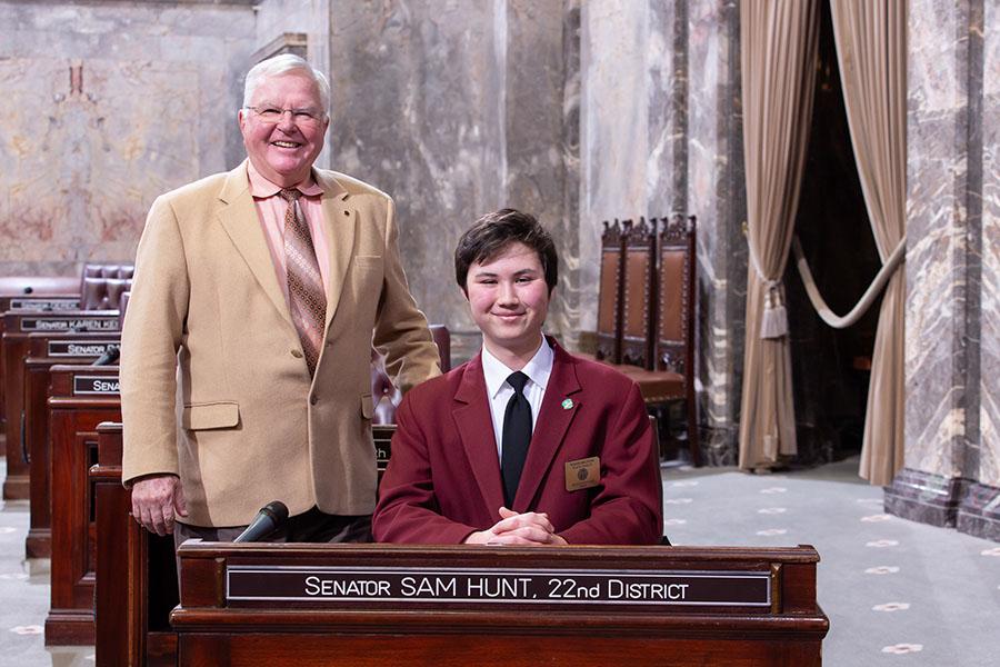 Bryce Weppler serves as page in Washington State Senate