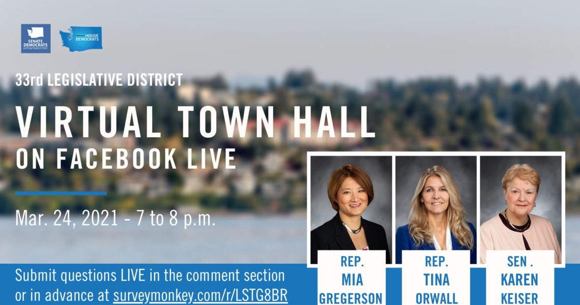 Keiser, Orwall, Gregerson to hold virtual town hall March 24