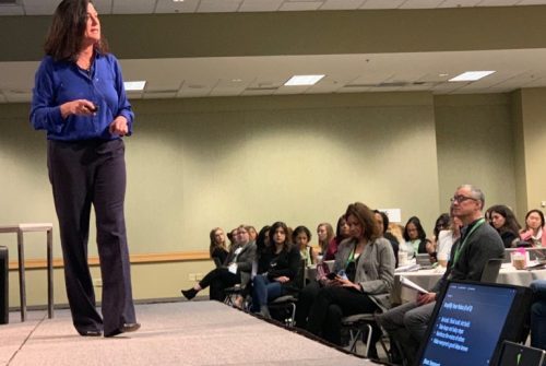 Microsoft's Gavriella Schuster delivers an impassioned speech about the need for more women tech leaders at Saturday's Women in Cloud Summit on the Microsoft Campus