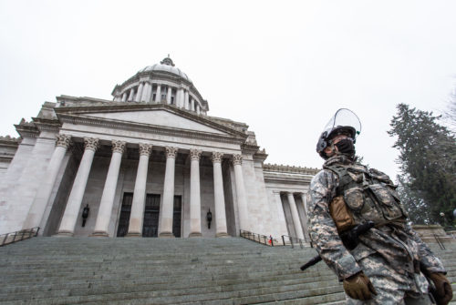 A member of the WA National Guard posted outside the Legislative Building