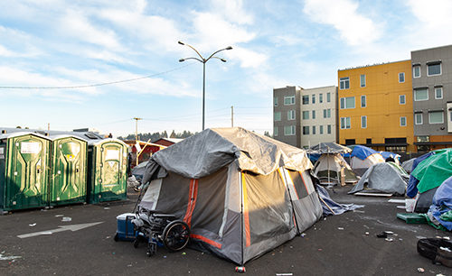 homeless camp in downtown Olympia Washington