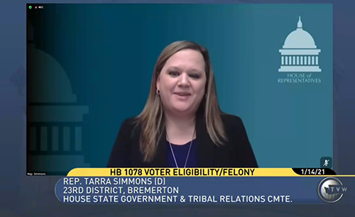 TVW Screen Grab: Rep. Tarra Simmons testifying in support of HB 1078