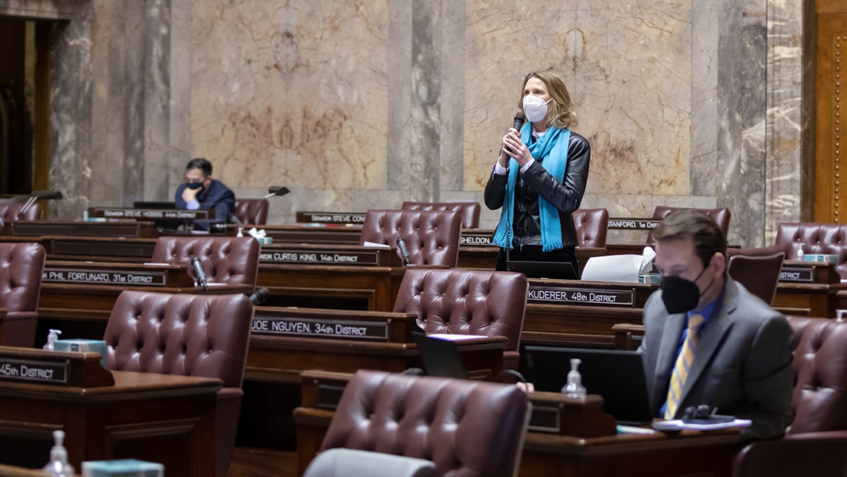 WA State Senator Patty Kuderer (D-Bellevue) giving a speech on the Senate floor during the 2021 legislative session