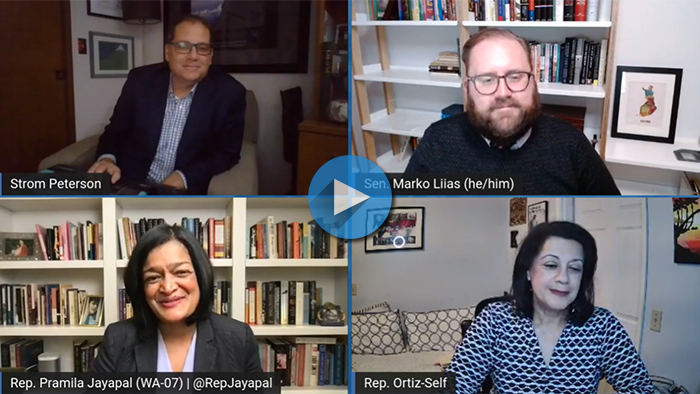 Virtual Town Hall screen grab with Rep. Strom Peterson, Sen. Marko Liias, Congresswoman Pramila Jayapal, and Rep. Lillian Ortiz-Self