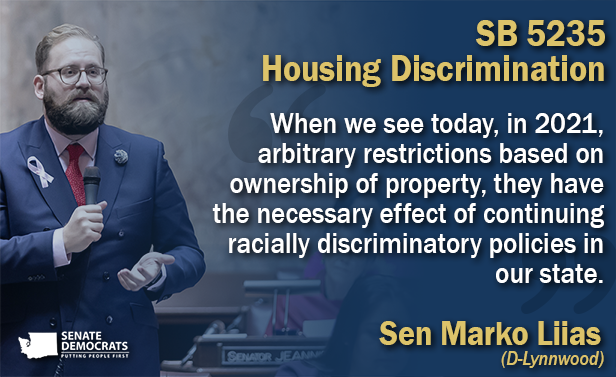 Liias bill to prohibit arbitrary local housing ordinances that limit housing options gets Senate approval