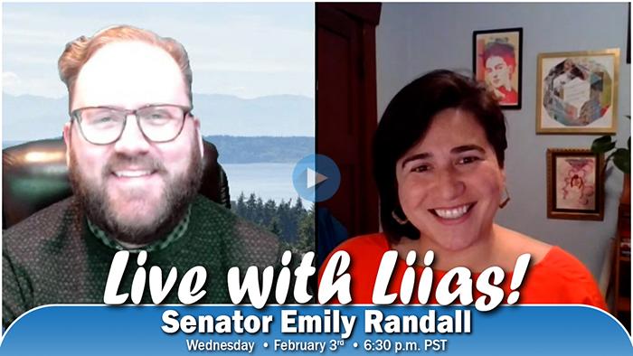 Thumbnail image of Sen. Marko Liias and Sen. Emily Randall promoting Live with Liias!