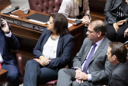 Sen. Marko Liias, Rep. Lillian Ortiz-Self, Rep. Strom Peterson, and Sen. Andy Billig waiting for the State of the Judiciary address.