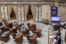 Wide shot of the WA Senate floor during the 2021 legislative session