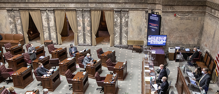 Wide shot of the WA Senate floor during the 2021 legislative session