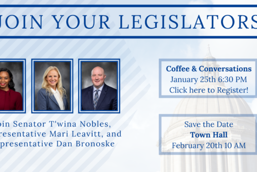 Join your 28th LD legislators, Rep. Mari Leavitt, Rep. Dan Bronoske and me, on Monday, January 25th, for Coffee & Conversation at 6:30 PM. We want to hear from you and what you think we should focus on this session.