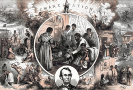 Thomas Nast, American school. Celebration of the emancipation of Southern slaves at the end of the American Civil War. Centre: A freedman's home. Left: Conditions before Emancipation. Right: After Emancipation. Bottom: Abraham Lincoln. (Photo by: Photo12/Universal Images Group via Getty Images)