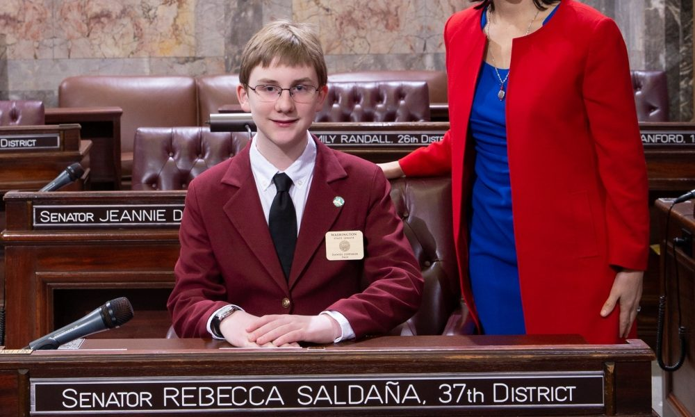 Daniel Zipperer serves as page in Washington State Senate