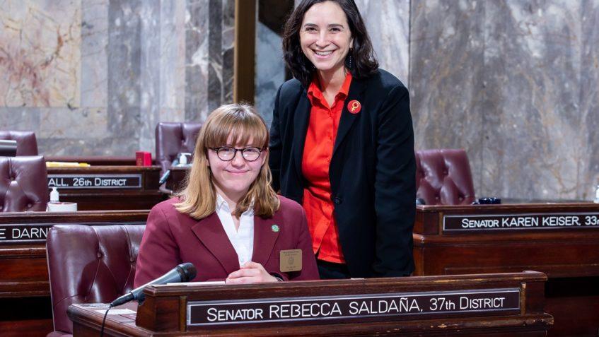 Sen. Saldaña with Senate Page Kai Craig, March 2, 2020.
