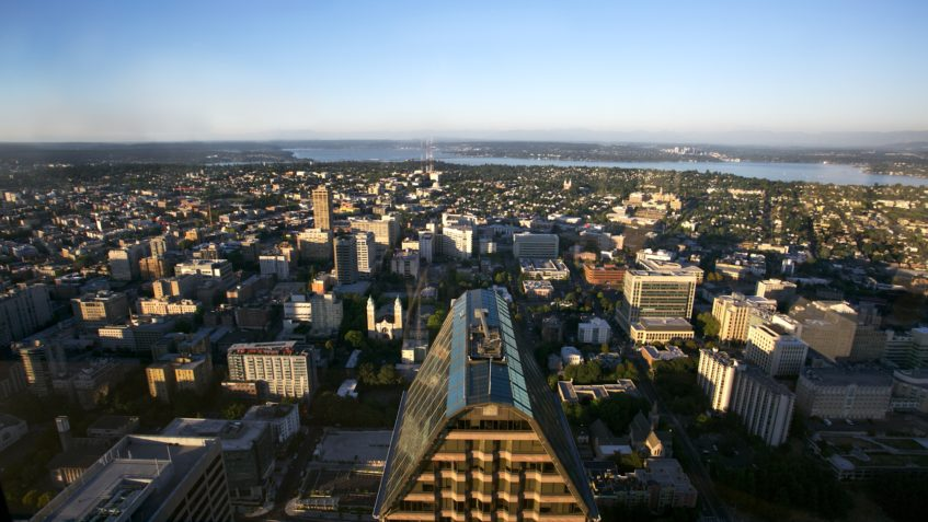 An aerial shot of Seattle.