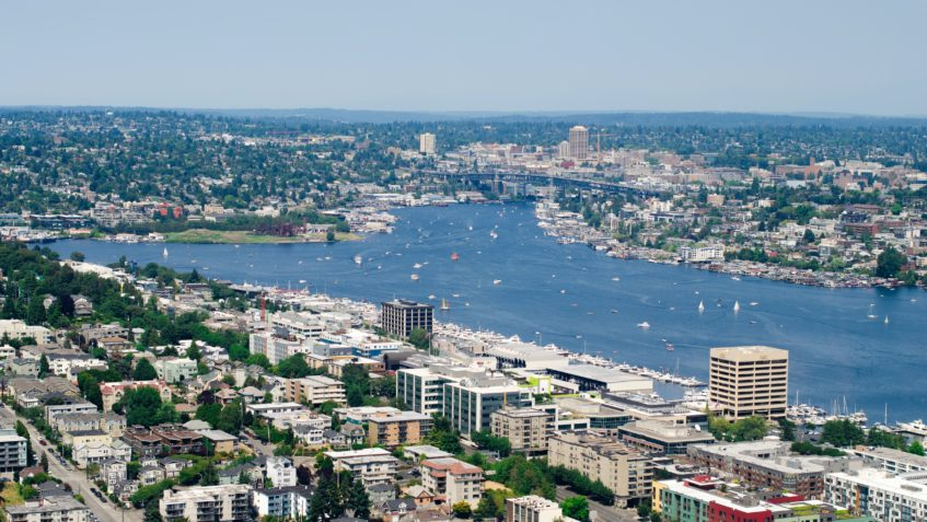 An aerial view of some waterfront neighborhoods in Seattle.