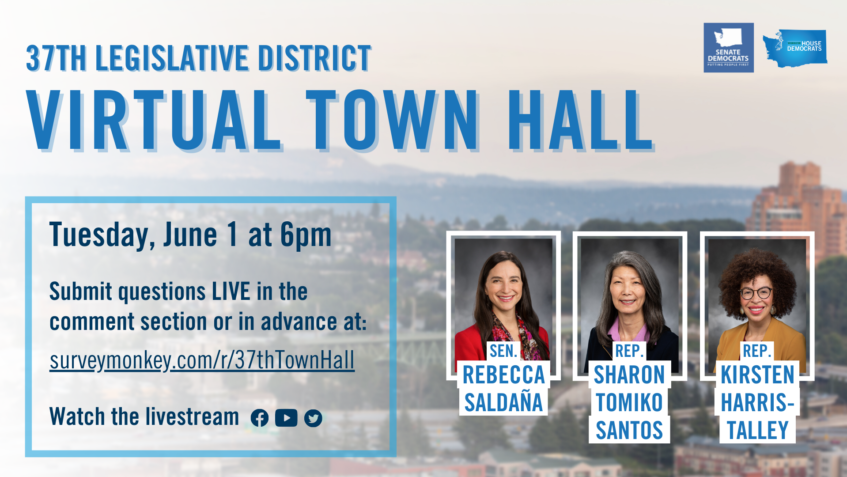 Graphic announcing the 37th Legislative District's Virtual Town Hall on Tuesday, June 1 at 6 pm