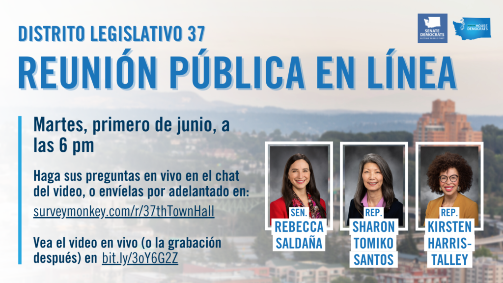 Spanish Graphic for the 37th Legislative District Virtual Town Hall on June 1 at 6 pm