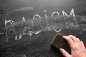 """Photo of a chalkboard with the word """"racism"""" being erased"""