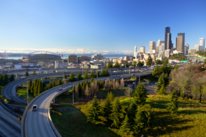 View of Seattle showing several highways.