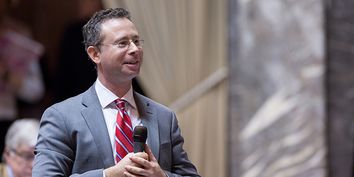 State Sen. Jesse Salomon on the Senate floor giving a speech