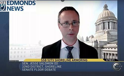 TVW screen grap of Sen. Jesse Salomon giving a floor speech in favor of SB 5273