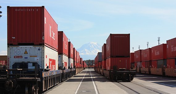 stock photo of cargo containers with Mt. Rainier in the background