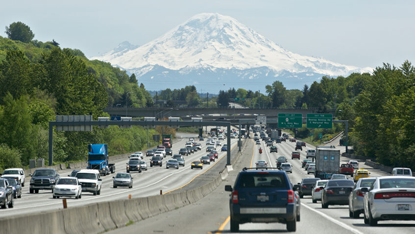 cars driving on I-5 in Seattle