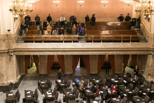 A I-594 protest rally takes place with open carry participants in the House of Representatives gallery Chambers, January 15, 2015.