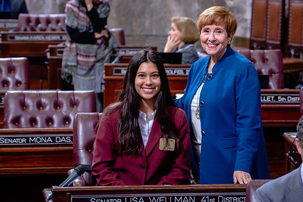 Isabella Syverson serves as page in Washington State Senate