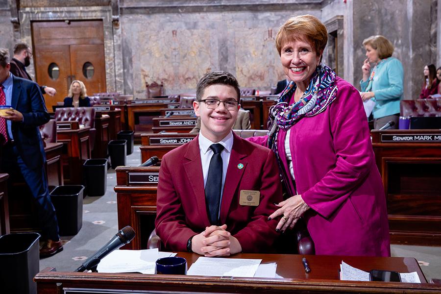 Kai Thomson serves as page in Washington State Senate