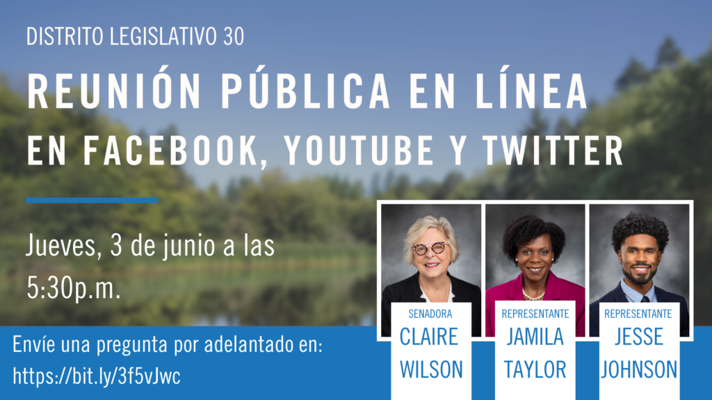 Spanish graphic announcing the 30th Legislative District's Virtual Town Hall