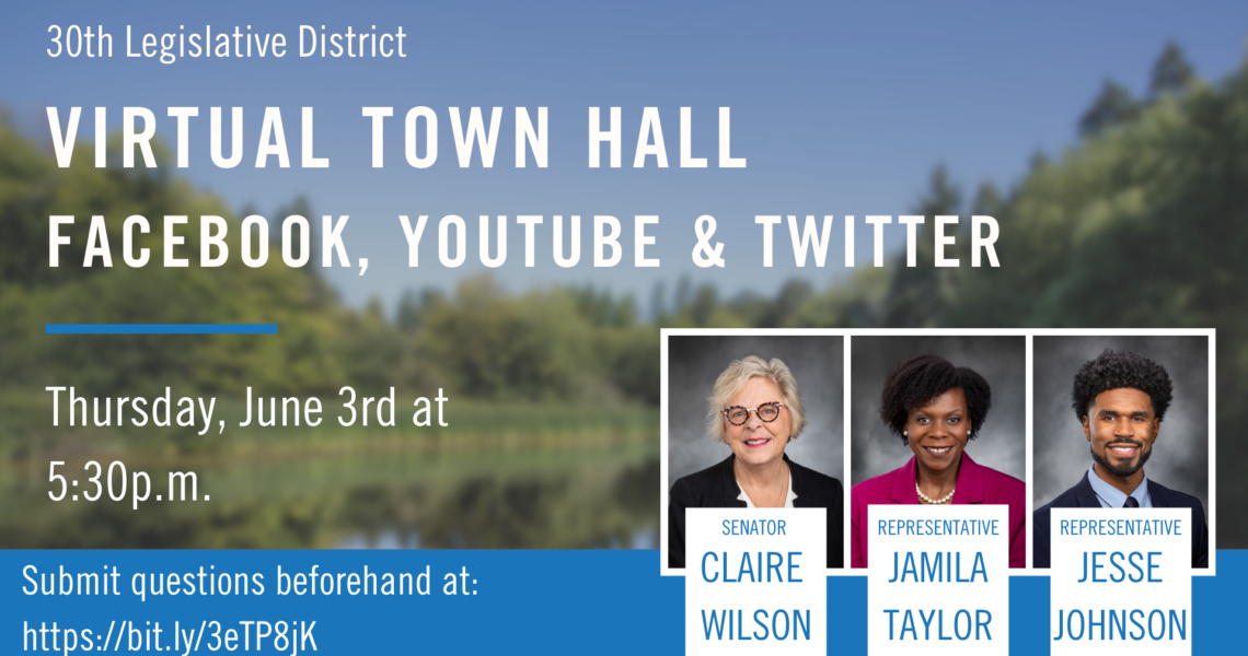 MEDIA ADVISORY: 30th Legislative District Virtual Town Hall on June 3