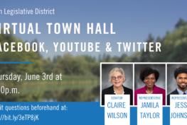 Graphic announcing the 30th Legislative District Virtual Town Hall